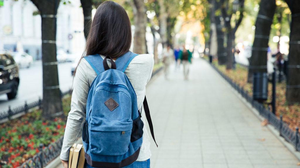 Teen girl with backpack